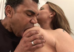 Hairy mature bitch moaning while being penetrated by a BBC