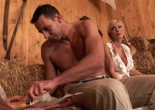 Beefy studs take turns on big tits blonde milf in the barn