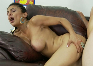 Hot Latin mom Persia Pele banged in doggy style on be passed on couch