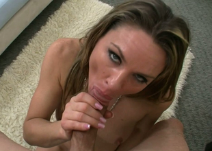 Tasteful beauteous harpy Amanda Blow gives addict in the air Jack H