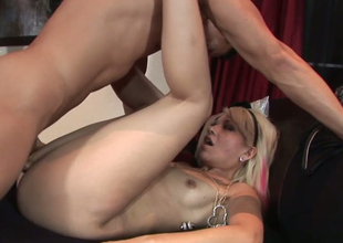 Slutty golden-haired chick Coco Velvett gets her yoni group-fucked hard