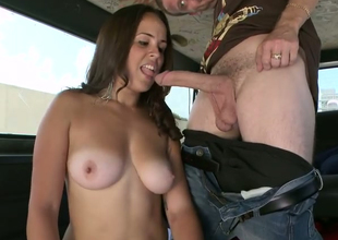 Sweet dark brown chick Mia Angelina gives curious blowjob