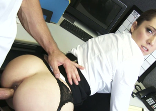 Hot as A vivacity brunette beauty Remy LaCroix fucked in a catch office