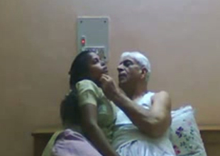 Slutty Indian crumpet gives head to old granddaddy with grey hair