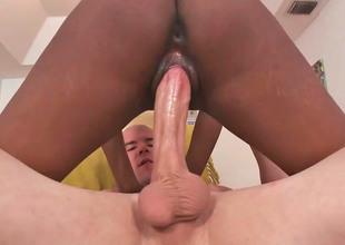 Sexy ebony babe Bring together sucks a fat white rod