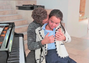 Super cute teen fucked by her lewd piano teacher