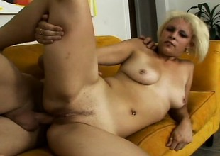 Pretty platinum blonde slut Paradise pulls off a POV blow job and gets analized
