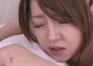 Moist threesome for small tits bimbo in heats, Ria Saku