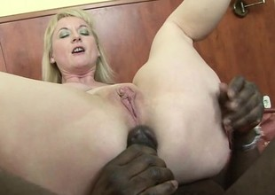 Hot blonde cougar gets her gaping holes well-built with black meat