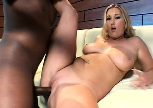 Big breasted blonde fully enjoys her get together with with a black cock