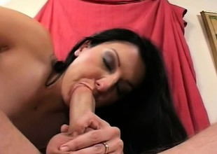 Renee Pornero slips a dig up down her throat and acquires it bottomless gulf in her tight nuisance