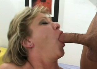 Luscious mature blond gets picked up on the street and fucked hard overwrought 2 guys
