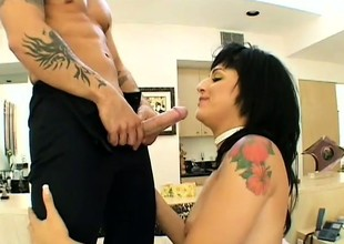 Latin sweetheart sucks his cock to make him permanent then rides his locate