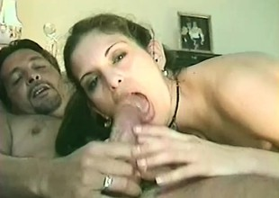 Dirty young chick Angelina impales her snatch on some phoney meat