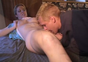 Luscious blonde college babe Holie Stevens has her phase fucking her juicy vagina