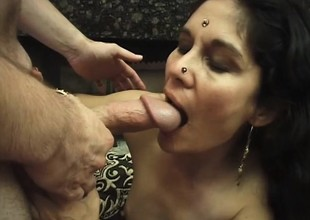 Ugly Indian milf takes a unending dick in her moist pussy and a giant cumload in her face space