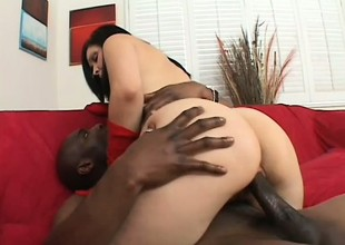 Foxy brunette close by lingerie takes it outlander a group of black guys