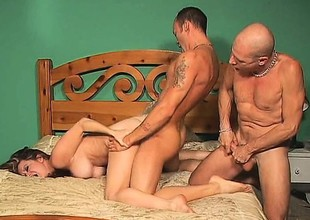 Hot couple gets dirty with their bi male ally and a belt in excess of