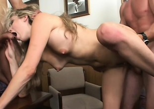 Wicked blonde secretary with big pointer sisters fulfills their way office fantasies with two guys
