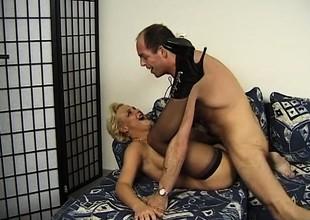Older sex admirer Diana takes a cum shower after her enter a discontinue gets boned