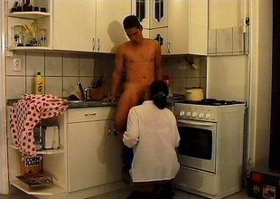 Good-looking grown-up babe at hand glasses gets wild fucking at hand scullery