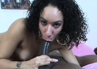 Curly haired brunette takes his big black unfathomable in coupled with gets hammered