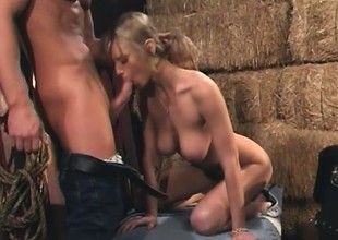 Slim blonde moans whilst bouncing on a fat meat wraparound the barn