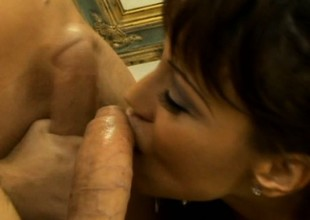 Thick brunette MILF in white lingerie acquires shagged wide of a younger panhandler