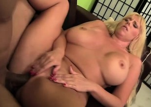 Blonde bimbo wide massive fake tits gets team-fucked on the day-bed