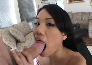 Long-haired Asian beauty makes a chap cum wide of bouncing on his boner