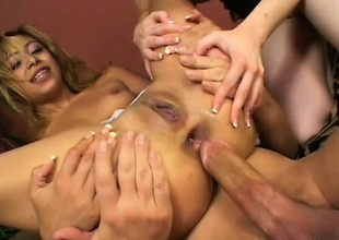 A clasp of babes acquire into a threesome and vindicate for anal slamming