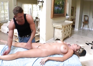 Katie Kox gets a lovemaking rub-down