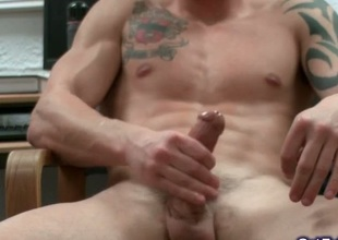 Amazing muscled and tattoed stumbling-block jerking