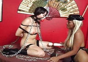 Asian busty brunette has a bound up sex session