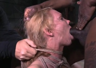 Large tits babe tied up with an increment of face chasm fucked