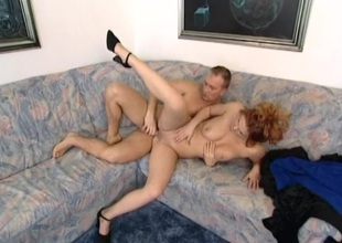 Bushy redhead nailed in the pussy and derriere