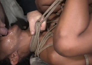 Skilled rope servitude makes the undressed girl an simple fuck