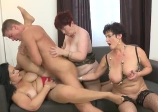 Three grown-up sweethearts with great tits share a young dick
