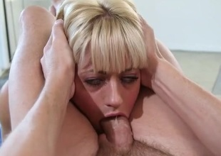 Messy throat fucking with a sexy beauteous angel
