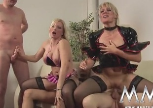 German cock harlots share cum kisses surrounding a foursome