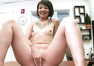 Small tits brunette gives a oral-stimulation