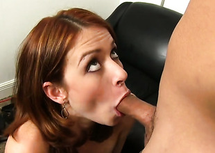 Redhead chick gives a nice blowjob