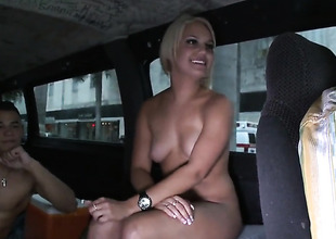 Petite titties golden-haired is making a film
