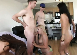 Brunette hair latin hussy Ashli Orion with bubbly pest and Kelly Skyline have a great time touching each others cunt