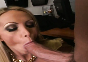 Golden-haired Nikki Benz is dangerously horny after giving blowjob to Baton Glide